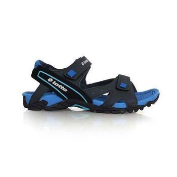 【LOTTO】男運動涼鞋-休閒涼鞋 魔鬼氈 排水 藍