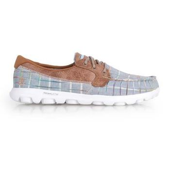 【SKECHERS】ON THE GO-UNWIND 女休閒鞋-走路鞋 格紋藍咖啡