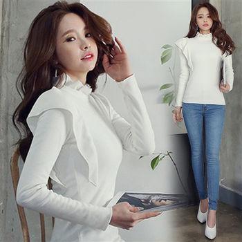 Pink東大門-正韓 素面花邊領口飛袖造型上衣(白)-ZX107154