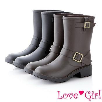 ☆Love Girl☆經典百搭帥氣雙扣環中筒雨靴
