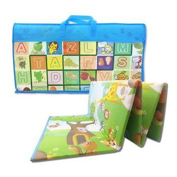 EPE 雙面環保攜帶摺疊型遊戲爬行墊 (加大版厚1cm) 動物汽車+水果字母款
