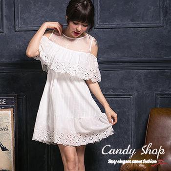 Candy小舖 無袖透膚肩帶花棉麻緹花洋裝 - 白