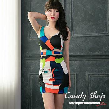 Candy小舖 無袖藝術多色色塊設計短洋裝 - 黑