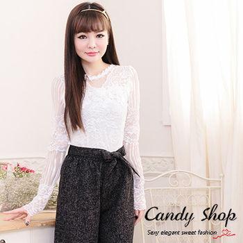 Candy小舖 甜美緹花領透膚直條紋長袖上衣-白色