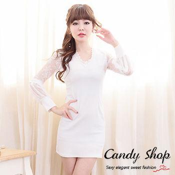 Candy小舖 V領蕾絲貼身長袖透膚短洋-白色