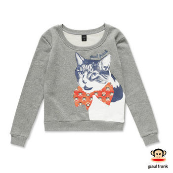 PAUL FRANK-小貓咪立體蝴蝶結長袖T恤-灰色(女)