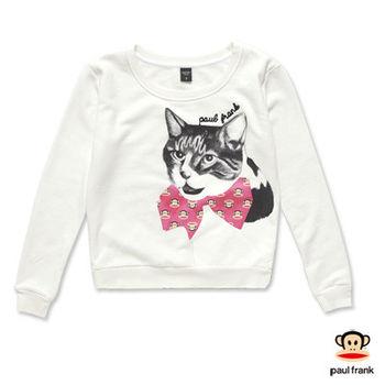 PAUL FRANK-小貓咪立體蝴蝶結長袖T恤-米白(女)