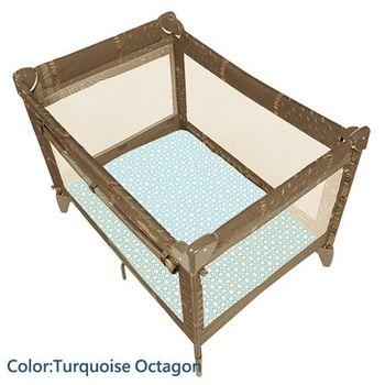 加拿大 kushies 純棉遊戲床床包 74x107cm (淺藍六角紋)