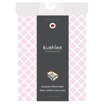加拿大 kushies 純棉遊戲床床包 74x107cm (粉紅菱格紋)