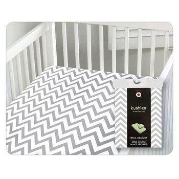 加拿大 kushies 純棉嬰兒床床包 70x140cm (淺灰小山紋 )