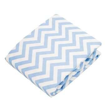 加拿大 kushies 純棉嬰兒床床包 70x140cm (淺藍小山紋 )
