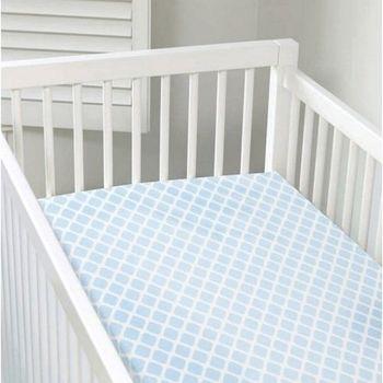 加拿大 kushies 純棉嬰兒床床包 70x140cm (粉藍菱格紋 )