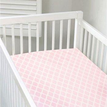 加拿大 kushies 純棉嬰兒床床包 70x140cm (粉紅菱格紋)