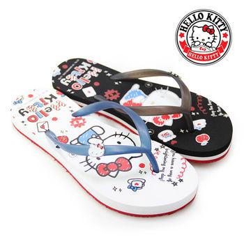 【HELLO KITTY】悠閒步調凱蒂貓手繪塗鴉夾腳拖鞋-白色、黑色