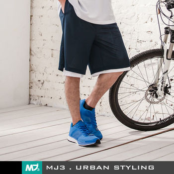 【MJ3】純色吸濕排汗籃球短褲-男(深藍/白)