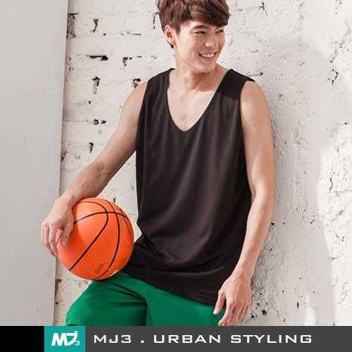 【MJ3】純色吸濕排汗籃球背心-男(綠/黑)