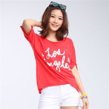 【TOP GIRL】Love Angeles開衩長版T恤 -共二色