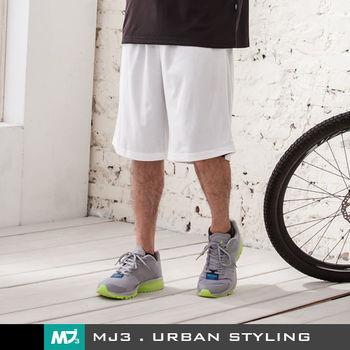 【MJ3】純色吸濕排汗籃球短褲-男(黑/白)