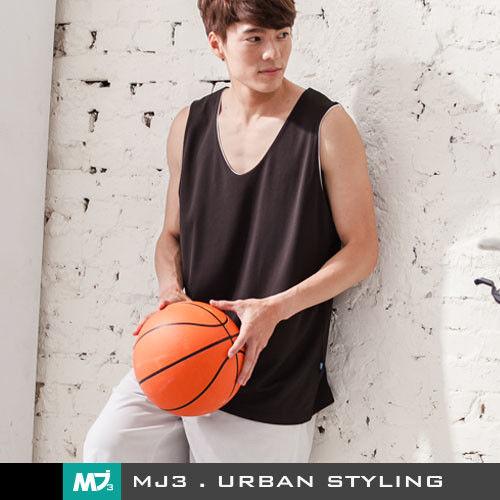 【MJ3】純色吸濕排汗籃球背心-男(黑/白)