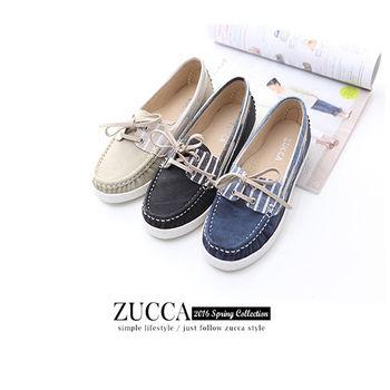 ZUCCA【Z5911】日系皮革綁帶休閒包鞋-黑色/藍色/白色