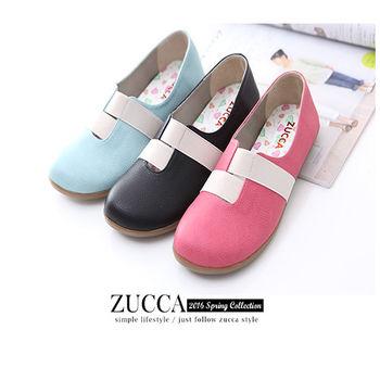 ZUCCA【B5910】素面皮革緞面平底包鞋-紅色/黑色/藍色