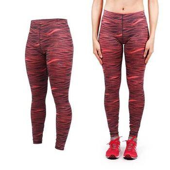 【PUMA】女訓練系列印花緊身長褲-緊身褲 慢跑 路跑 瑜珈 有氧 健身 韻律 咖啡橘