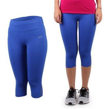 【NIKE】女緊身長褲-七分 路跑 慢跑 瑜珈 健身 有氧 寶藍銀