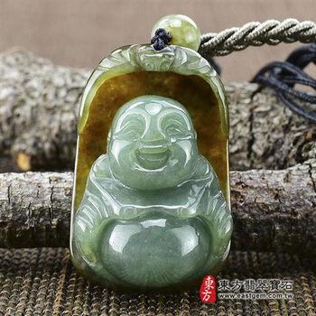 【東方翡翠寶石】彌勒佛A貨天然緬甸玉掛件玉墜(油青,帶黃翡,雕工細緻)ML019