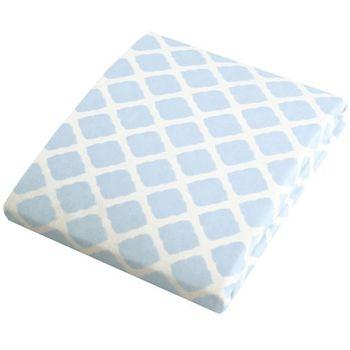加拿大 kushies 純棉遊戲床床包 74x107cm (粉藍菱格紋)