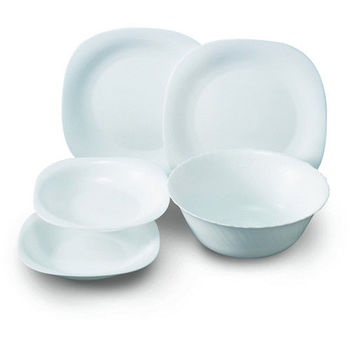 法國樂美雅 純白5件式餐具組(4盤1湯碗)