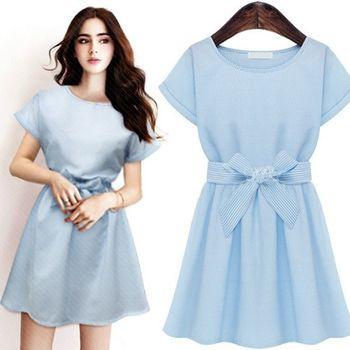 (現貨+預購 RN-girls)-歐美夏裝新款條紋雪紡A字短裙