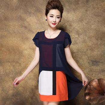 【糖潮】圓領假兩件雪紡短袖格線連衣裙(共三色)