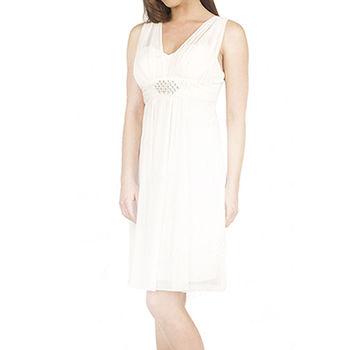 【摩達客】美國進口Landmark 皇家V領浪漫優雅白色及膝紗裙派對小禮服/洋裝(含禮盒/附絲巾)