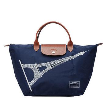 LONGCHAMP 巴黎鐵塔紀念款拉鍊摺疊短把購物包(深藍-中)