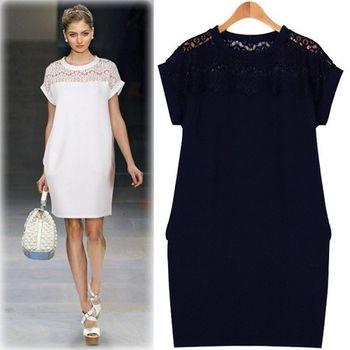 (現貨+預購 RN-girls)-歐美夏季新款蕾絲拼接寬鬆A字連身裙