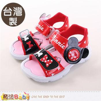 魔法Baby 兒童涼鞋 台灣製迪士尼米妮正版閃燈涼鞋~sh9703