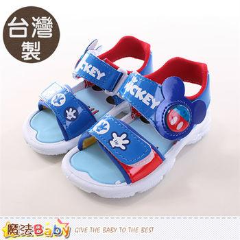 魔法Baby 兒童涼鞋 台灣製迪士尼米奇正版閃燈涼鞋~sh9702