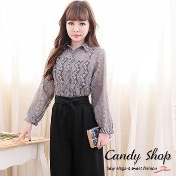 Candy小舖 春裝緹花襯衫前排釦長袖罩衫兩件式-灰色