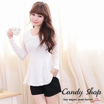 Candy小舖 春裝透膚紡織針織洋裝-白