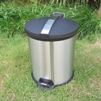 【協貿】歐式時尚12L圓形不銹鋼腳踏垃圾桶帶蓋