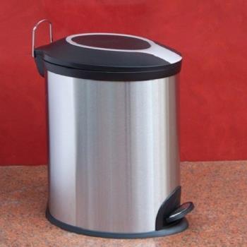 歐式12L橢圓形垃圾桶不銹鋼腳踏式帶蓋