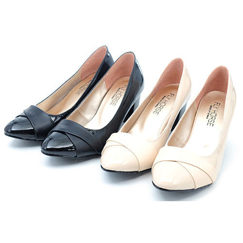 【 cher美鞋】簡約漆皮拼接跟鞋.(黑/米)512-192