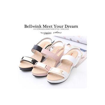 bellwink【B9308】金屬雙緞面扣環厚底鞋-黑色/白色/粉色