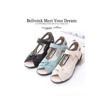 bellwink【B9307】皮革皺褶魔鬼氈平底鞋-黑色/綠色/白色