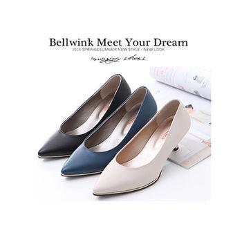 bellwink【B9304】素面皮革尖頭低跟鞋-黑色/藍色/白色