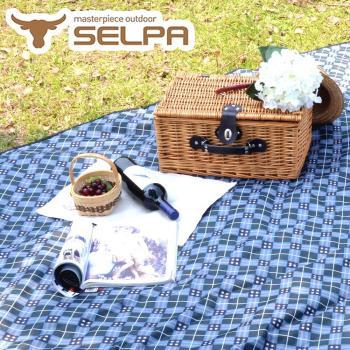 【韓國SELPA】特大款格紋防水野餐墊 300x300露營/野餐/寶寶爬行墊 (藍色格紋)