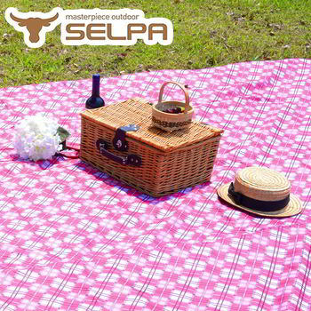 【韓國SELPA】特大款格紋防水野餐墊 300x300露營/野餐/寶寶爬行墊 (粉色格紋)
