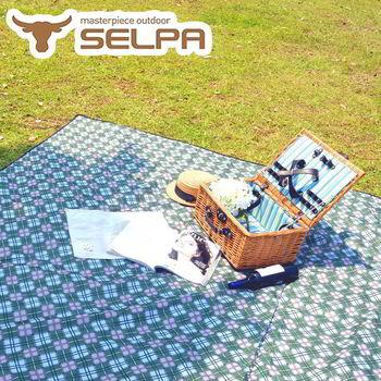 【韓國SELPA】特大款格紋防水野餐墊 300x300露營/野餐/寶寶爬行墊 (綠色格紋)