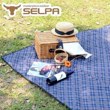 【韓國SELPA】特大款格紋防水野餐墊 300x300露營/野餐/寶寶爬行墊 (咖啡格紋)