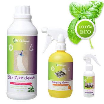 澳洲原裝 Ecologic 居家清潔清新組-磁磚地板+萬用清潔劑+除味噴霧各1瓶